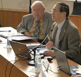 Photo of CODATA's newly re-elected secretary general, Robert Chen (right), with Gordon Wood, CODATA vice president.