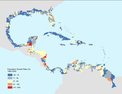 Map showing population growth rate in Latin America and the Caribbean from 1990-2000