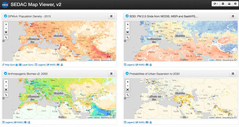 4-window view of data layers from SEDAC data holdings, via the updated SEDAC Map Client