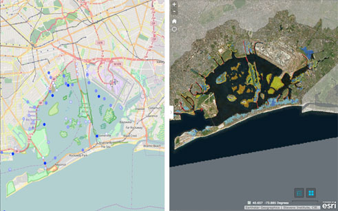 Left side of image shows screenshot of Jamaica Bay Water Quality Data Visualization and Access Tool, right side shows screenshot of Adaptmap
