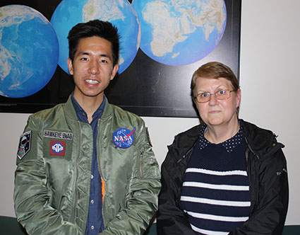 CIESIN Intern Haokai Zhao (left) and senior research staff assistant Eniko Kelly-Voicu (right), April 30, Palisades, New York