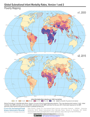 Comparison map of global subnational infant mortality rates, shows version 1 with data from the year 2000 postioned on top and version 2 with data from circa 2015 positioned on the bottom
